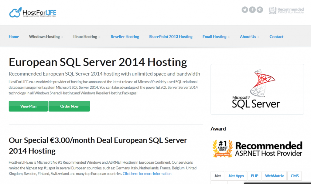 hostforlife sql server 2014 hosting